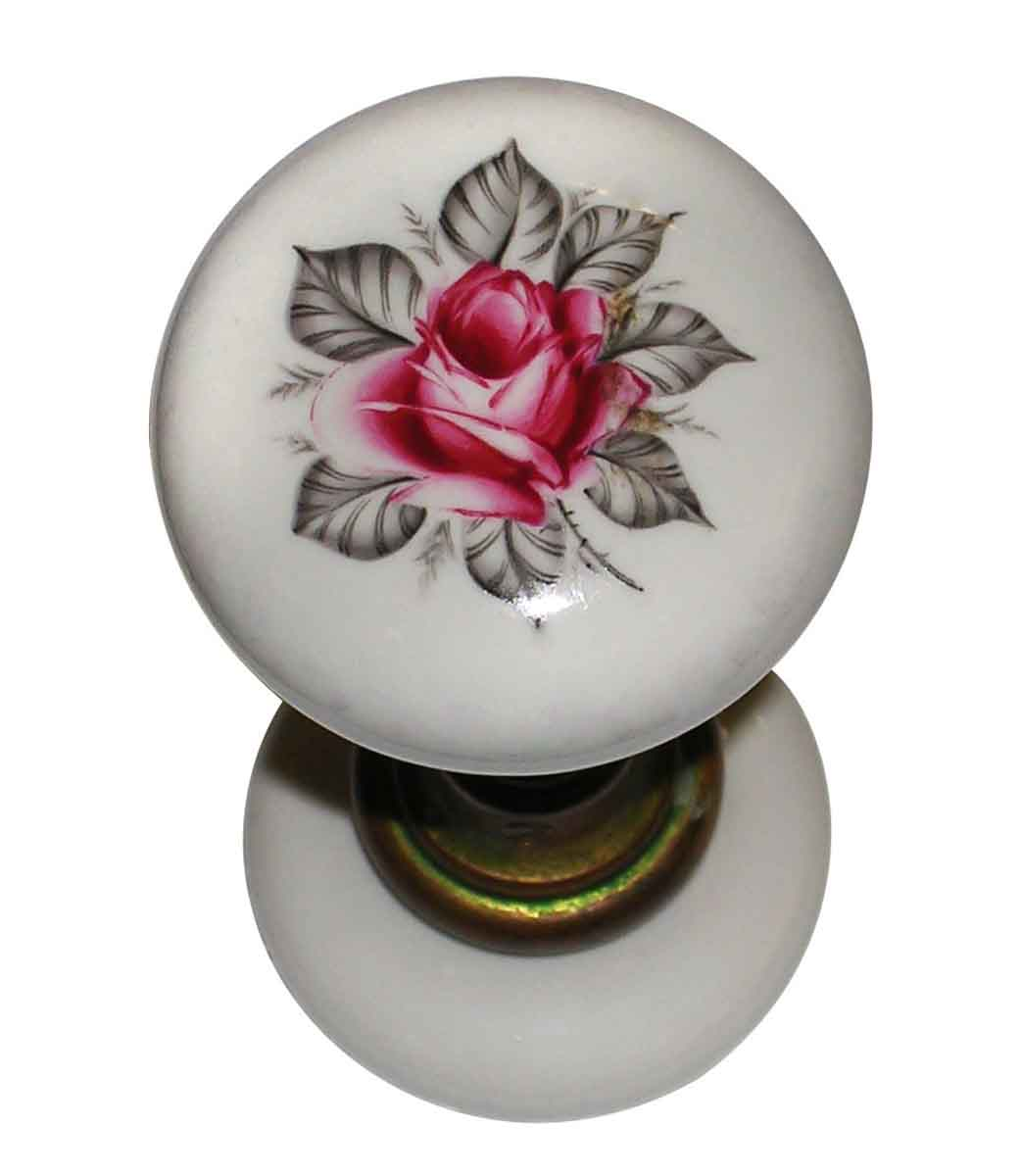 Porcelain Door Knob with Rose Painting