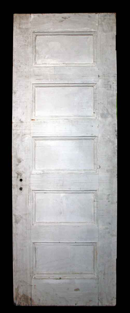 Five Horizontal Paneled White Door