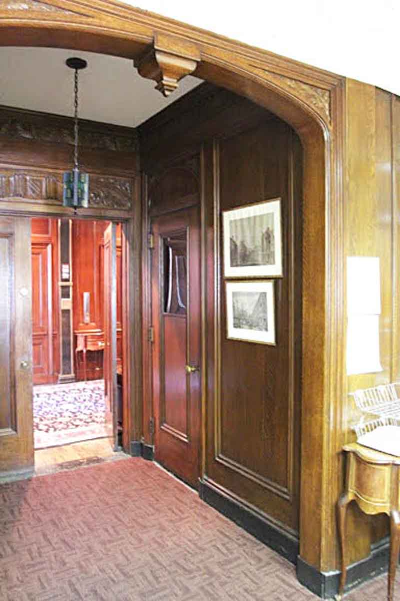Carved Tiger Oak Double Door Transom with Double Oak Doors & Carved Tiger Oak Double Door Transom with Double Oak Doors | Olde ...