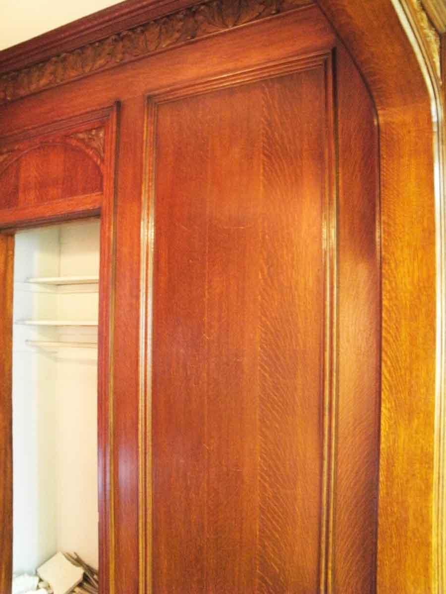 Carved Tiger Oak Double Door Transom With Double Oak Doors