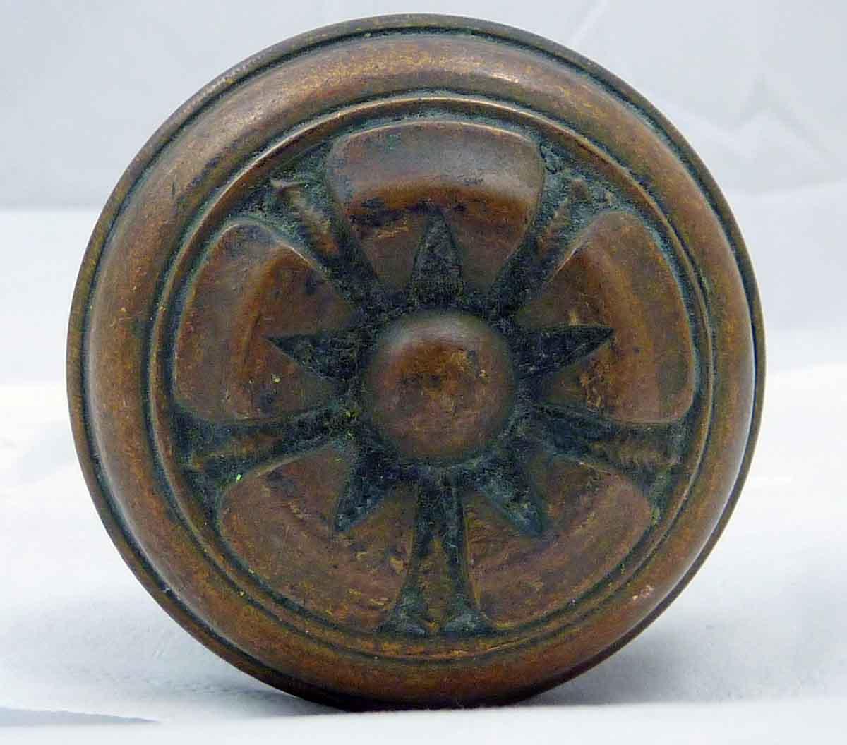 Bronze Doorknob Set with Large Flower Design