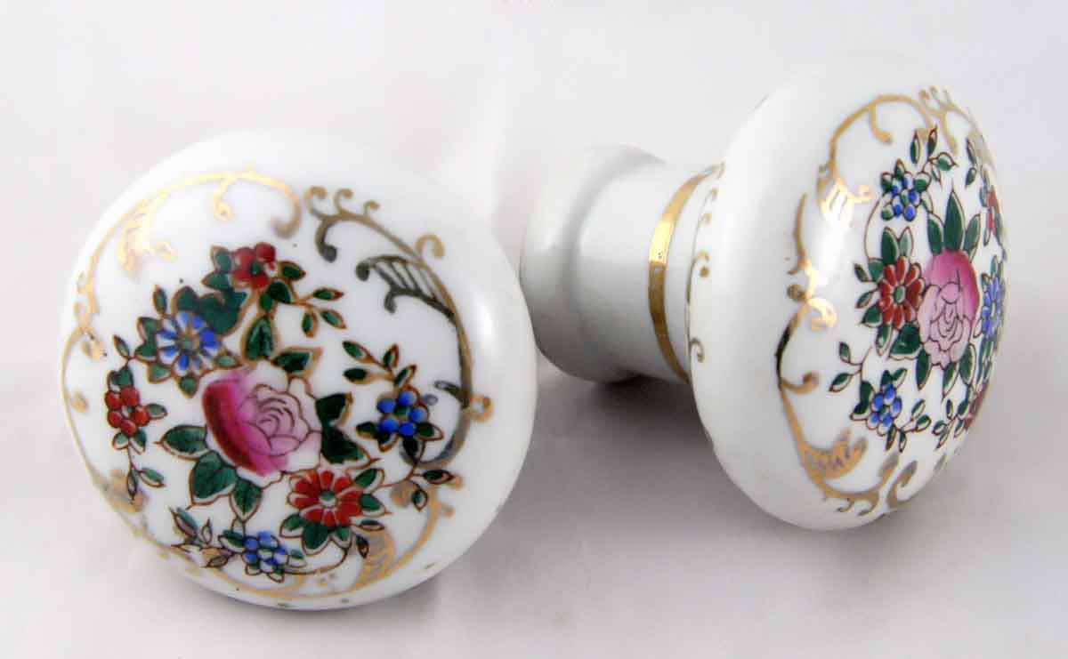 Porcelain Doorknobs with Painted Flower Motif