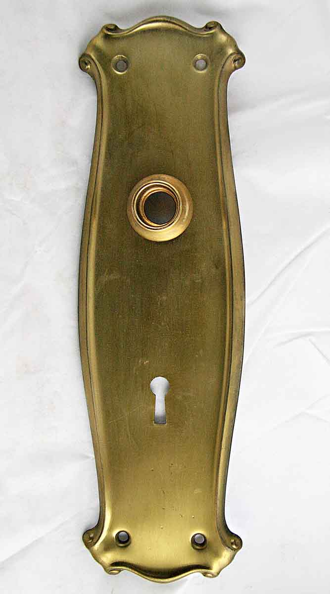 Decorative Brass Backplate with Paper Scroll Top & Bottom