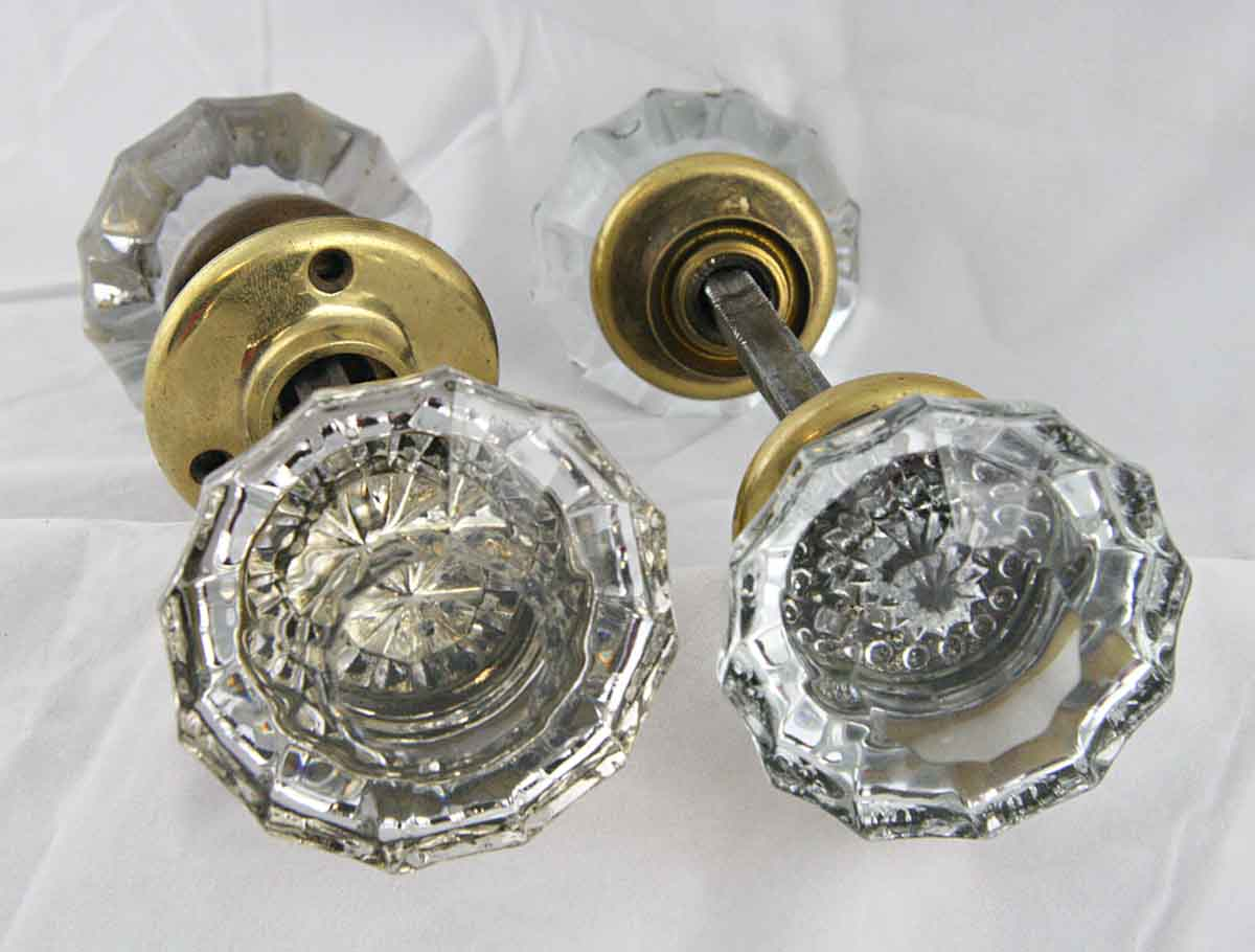 Antique Extra Large Fluted Glass Door Knob Set with Rosettes Olde