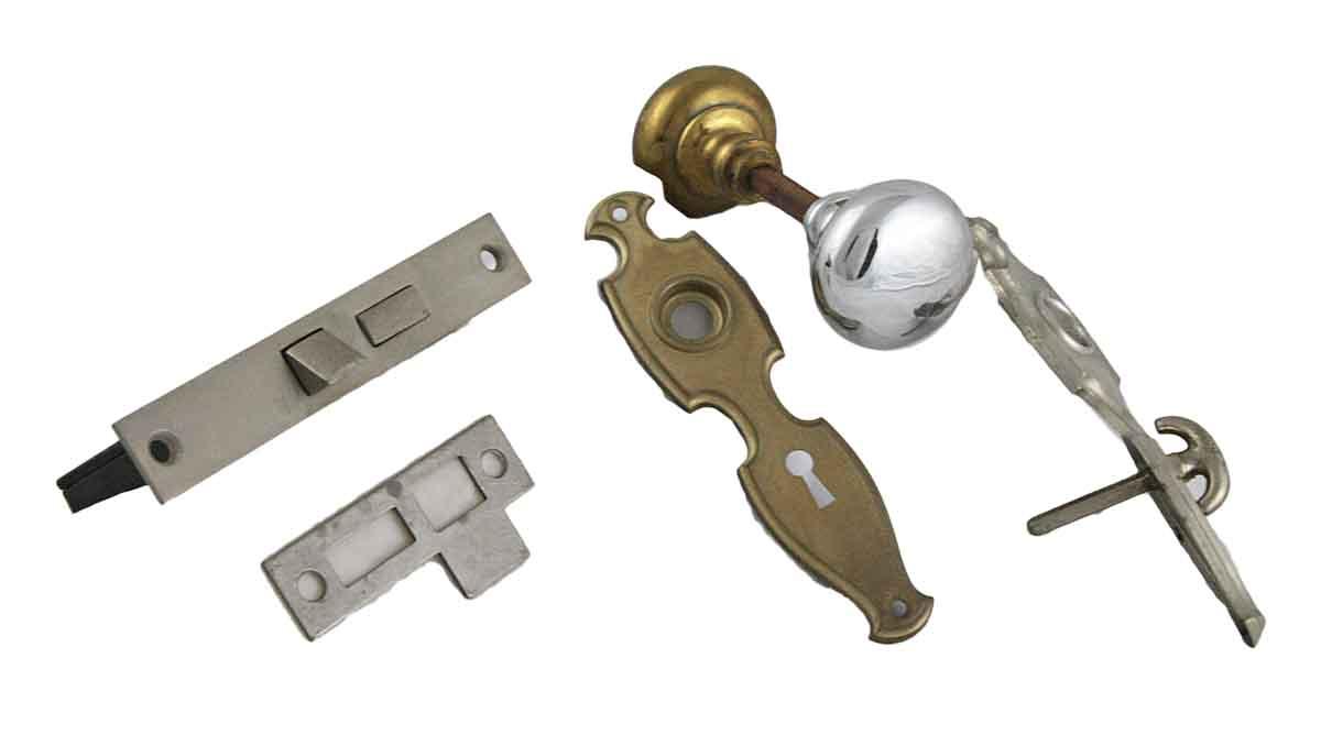 New Old Stock Brass & Chrome Plated Knob Set
