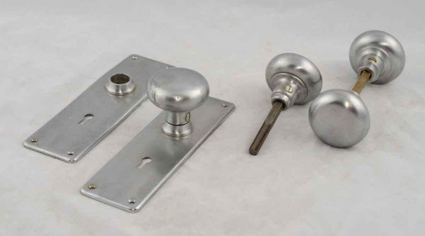 Brushed Nickle Plated Round Brass Doorknob Set