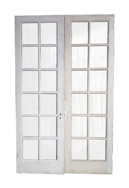 Pair of 12 Panel Glass French Style Double Doors