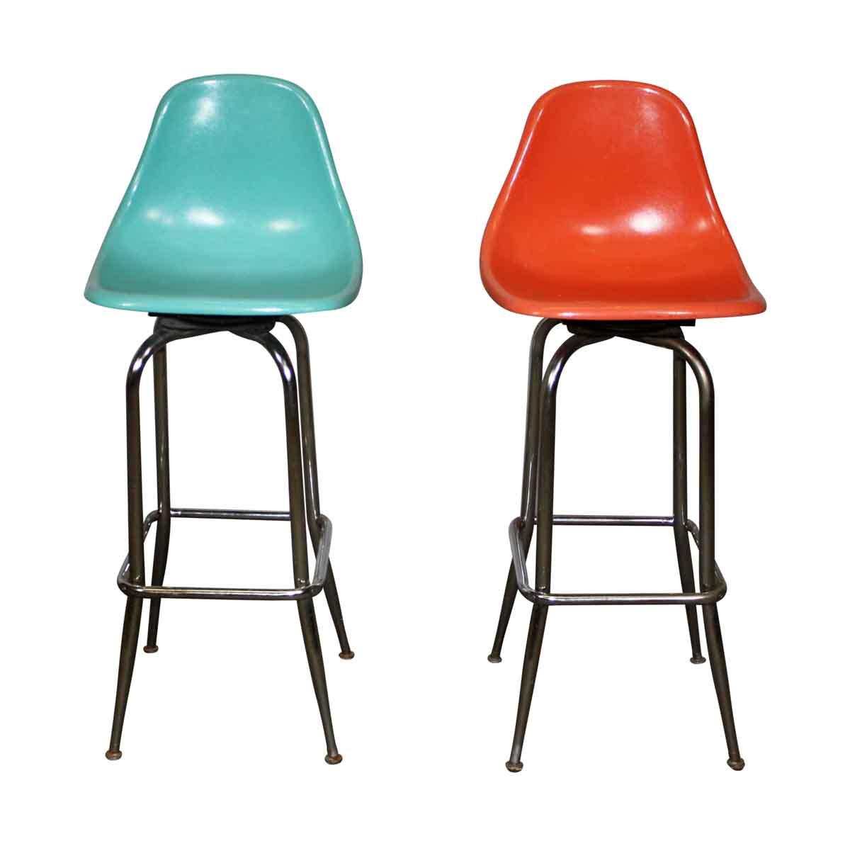 Giratory Orange High Chairs