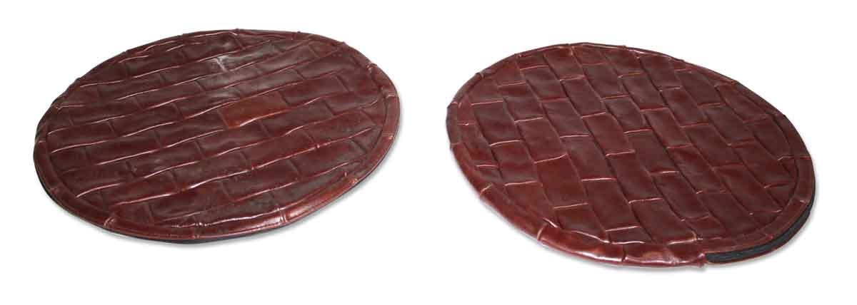 Burgundy Circular Leather Pillows