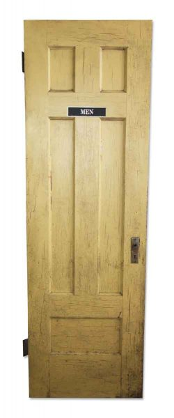 Crackled Mustard Painted Door with Five Panels