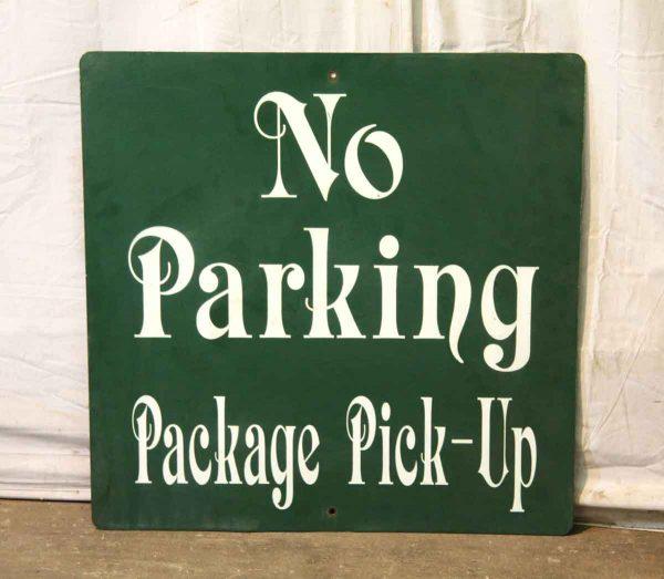 Green Enamel Metal No Parking Sign