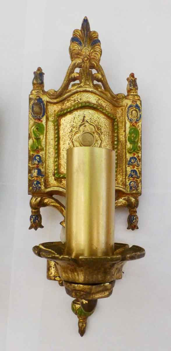 Painting Brass Wall Sconces : Pair of Gold Paint Over Brass Sconces Olde Good Things