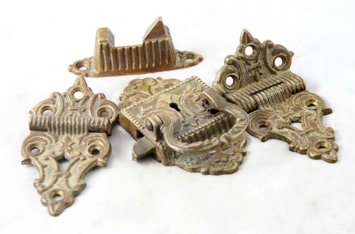 1800s Cast Brass Ice Box Lock Set