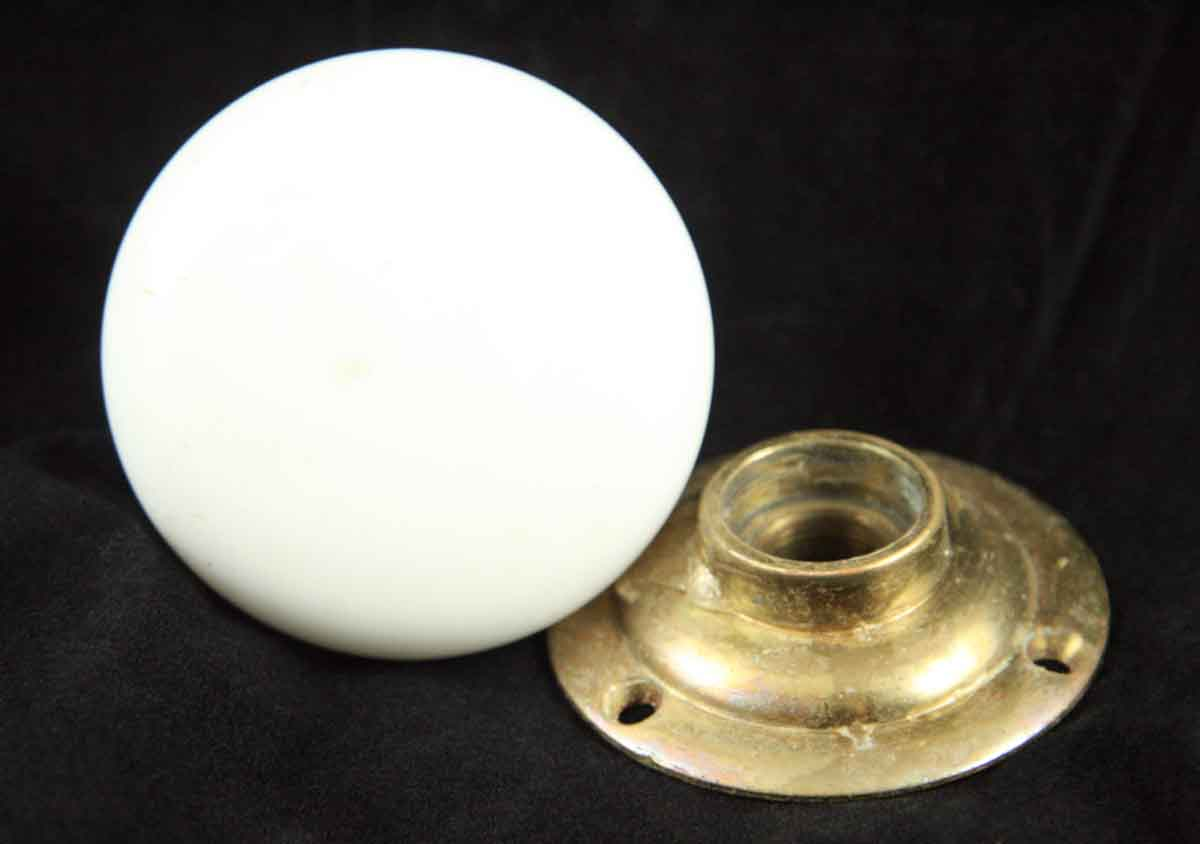 1940s Milk Glass Knob with Brass Rosette