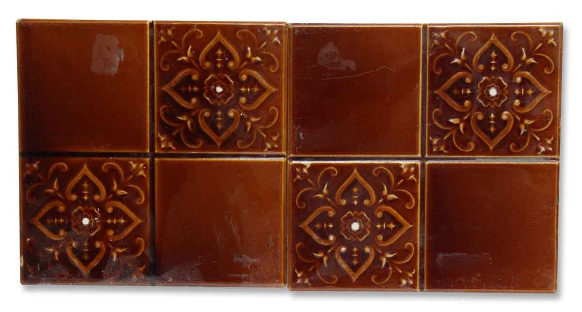 Brown Four Fold Floral Vintage Tiles