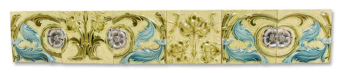 Vintage Green and Blue Floral Tile Set