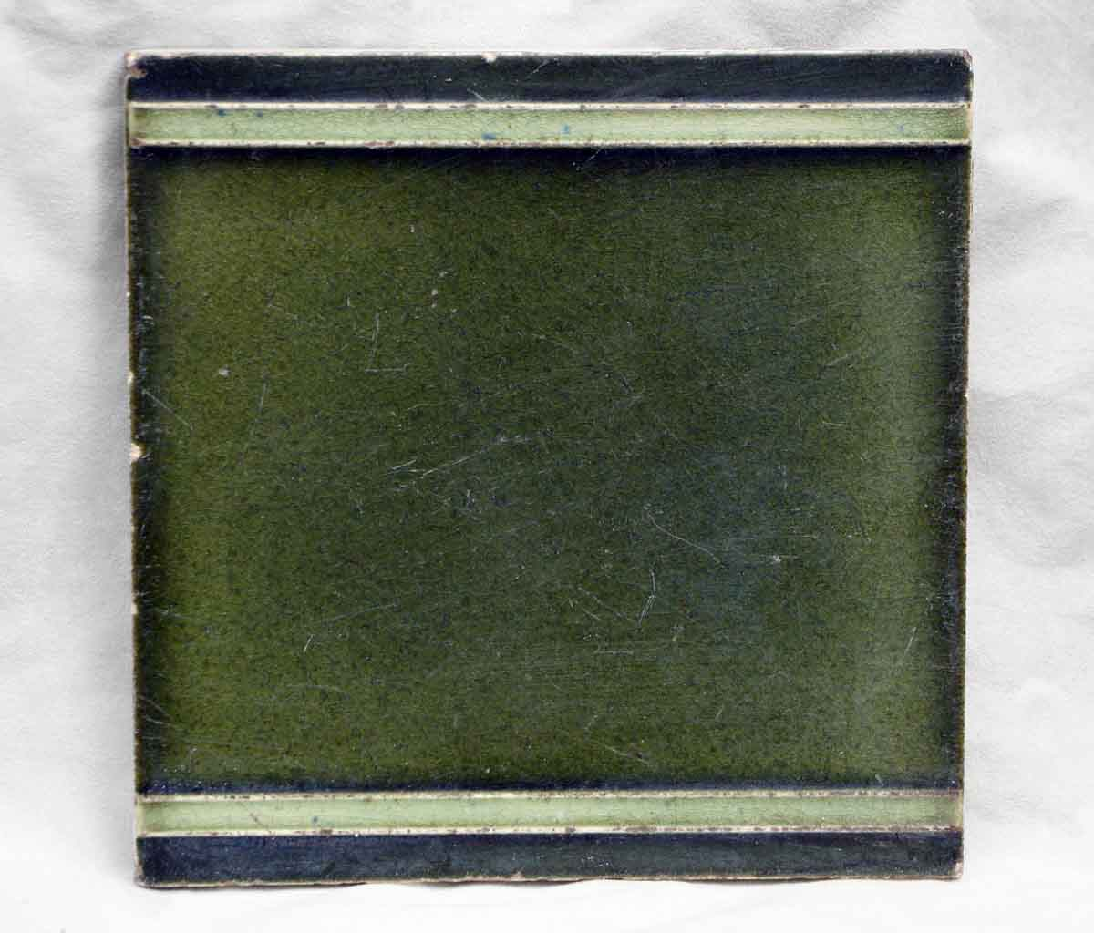 Dark Green Tile with Two Light Green Lines