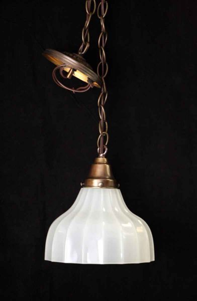 Translucent Fluted Milk Glass Shade Pendant Fixture