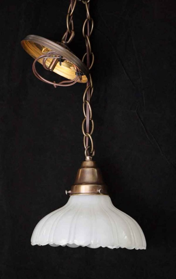 Translucent Fluted Milk Glass Pendant Shade
