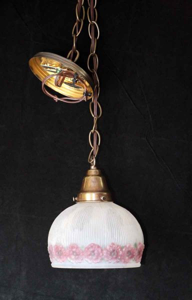 Frosted Glass Shade Pendant with Pink Flowers