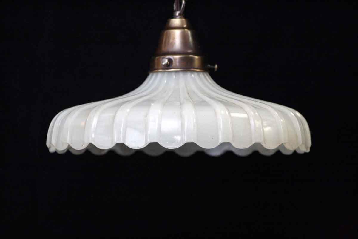 Translucent Milk Glass Shade Fluted Pendant Light Olde