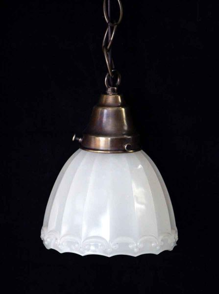 Translucent Milk Glass Shade Pendant with Fluted Detail