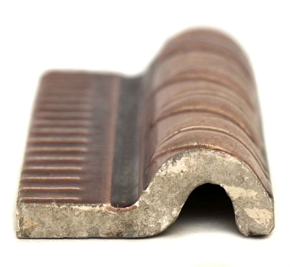 Pair Of Curved Brown Ceramic Edge Tiles Olde Good Things