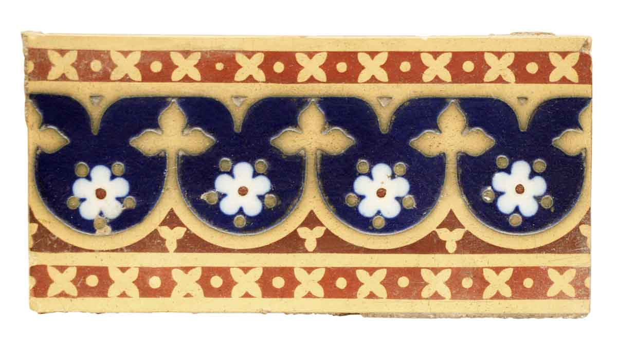 Royal Blue & Brown Geometric Floor Tile with Flowers