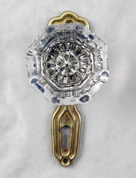 Art Deco Pressed Brass Backplate Glass Knob