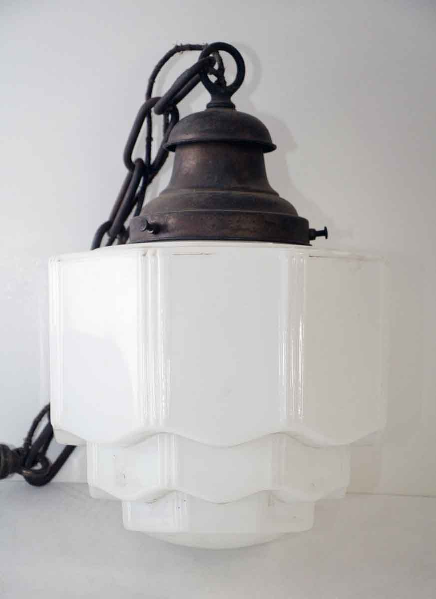 Milk Glass Pendant Light With Chain Olde Good Things