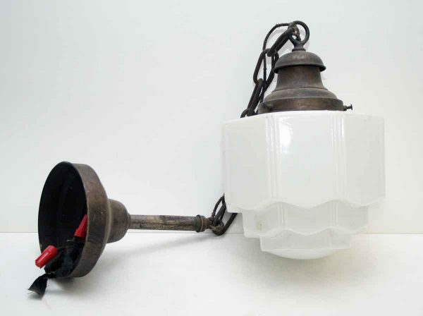 Milk Glass Pendant Light with Chain