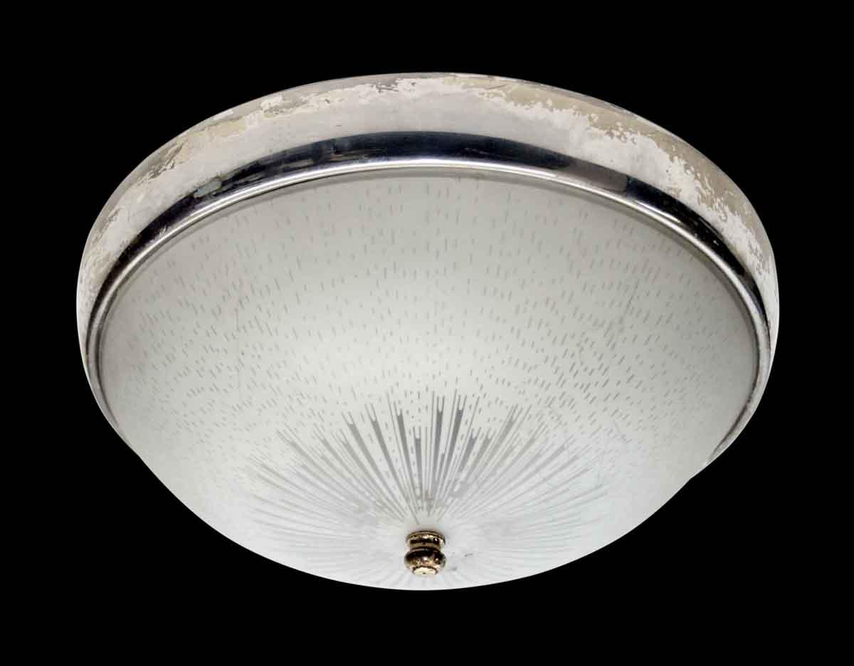 1950s Original Flush Mount Light with Nickel Trim