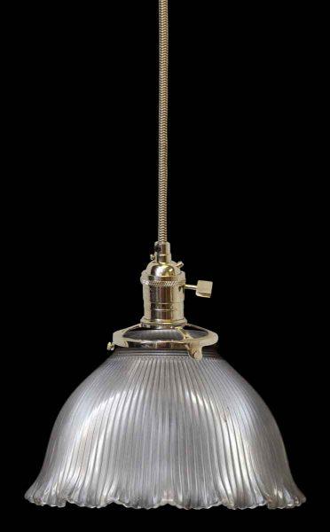 Holophane Ribbed Antique Glass Shade
