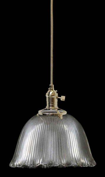 Ribbed Antique Holophane Ribbed Glass Shade