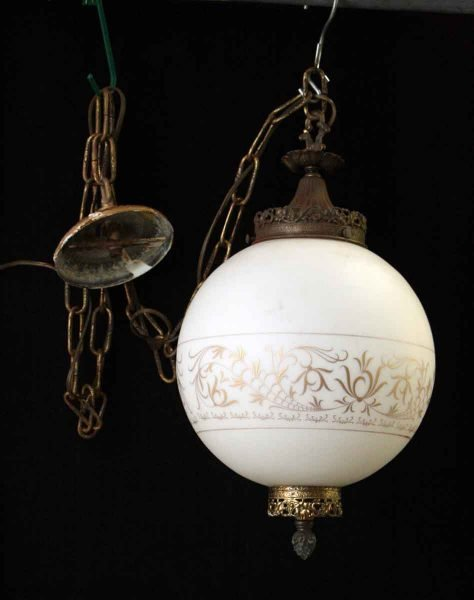 1970s Swag Glass Globe Light with Ornate Gold Detail