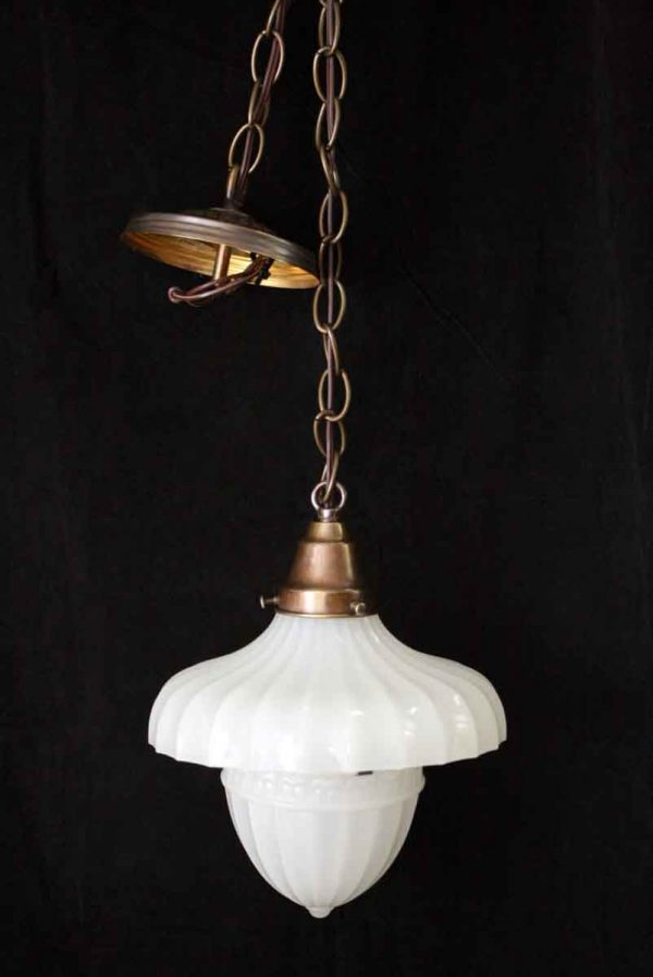 Fluted Milk Glass Light with Acorn Globe