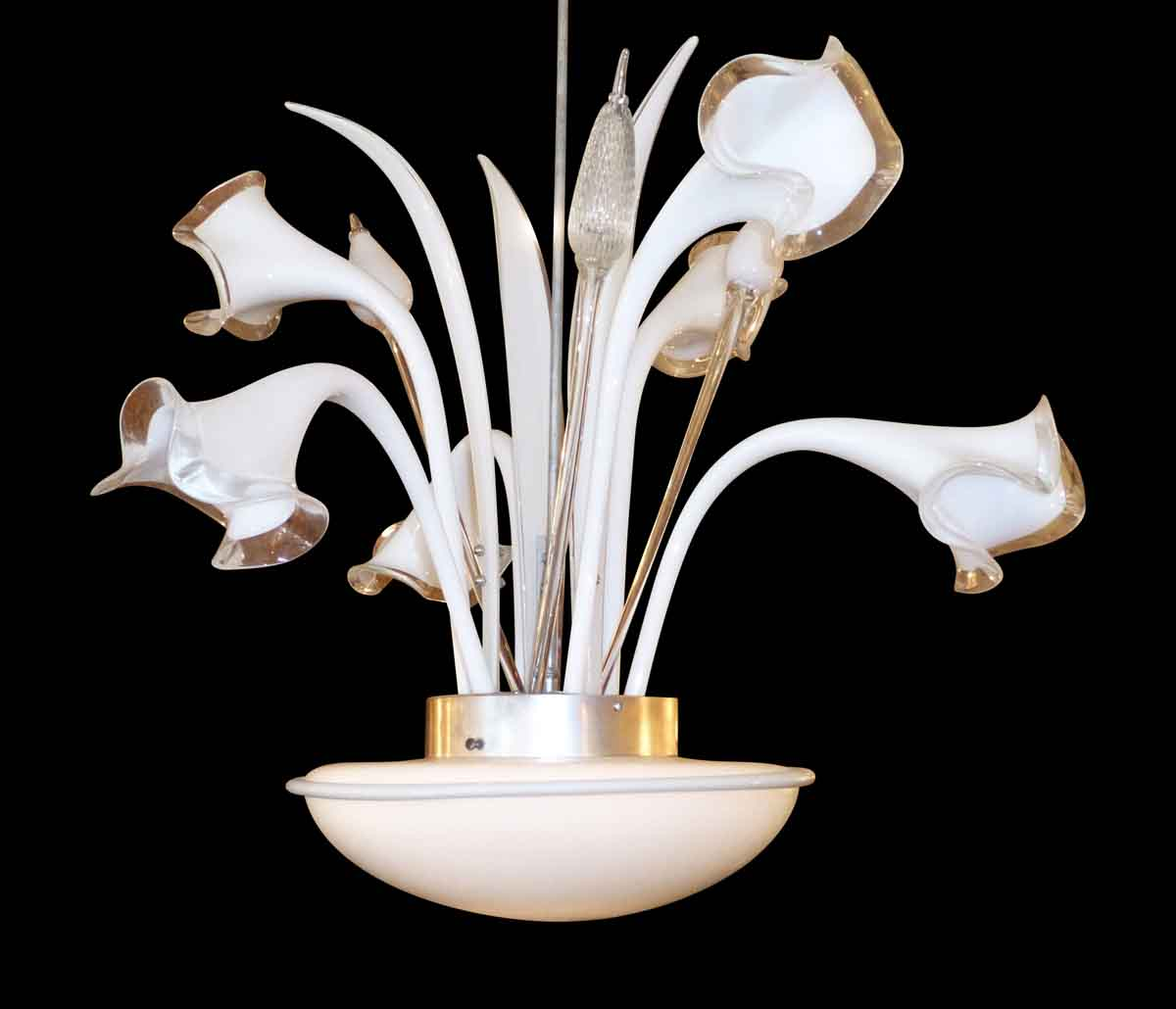 Murano Chandelier with White Hand Blown Glass Lily Flowers