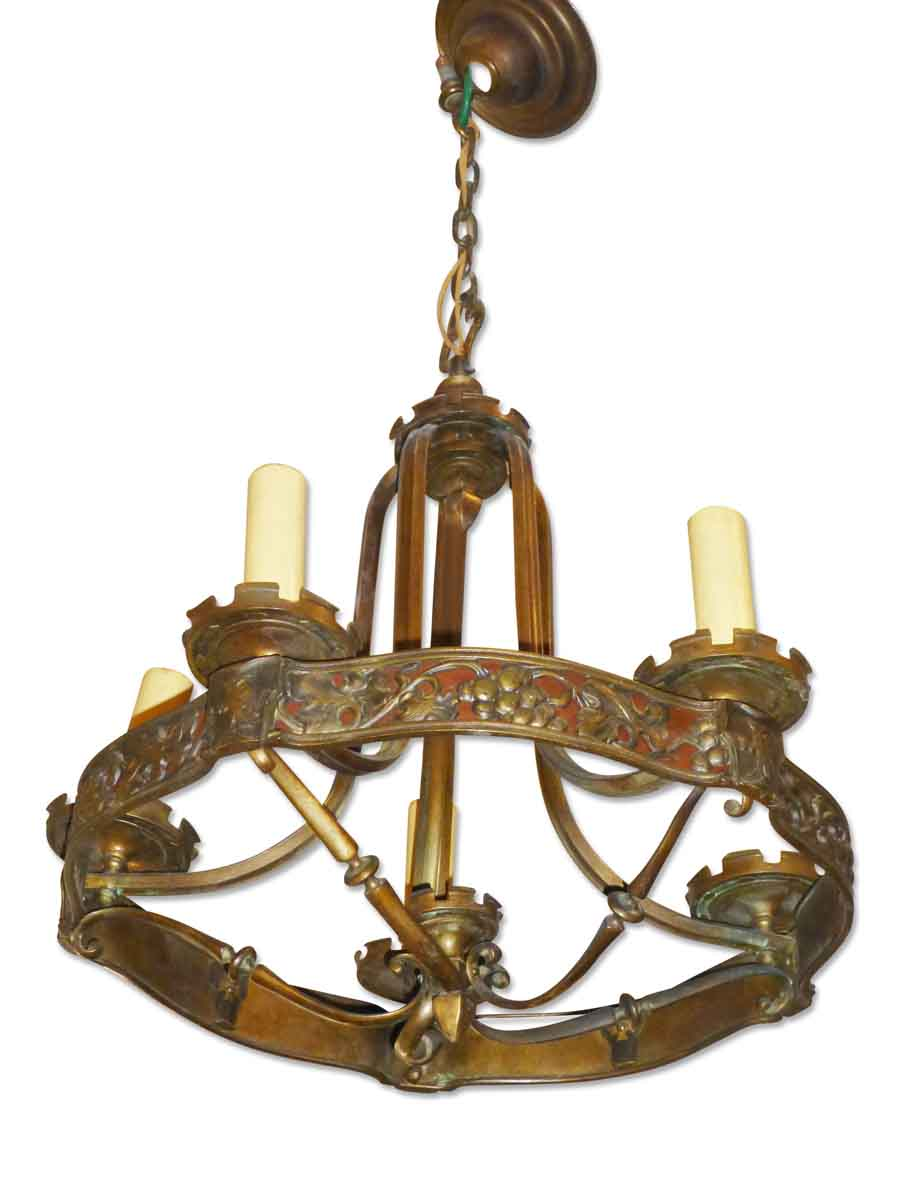 Antique Bronze Five Light Art Nouveau Chandelier