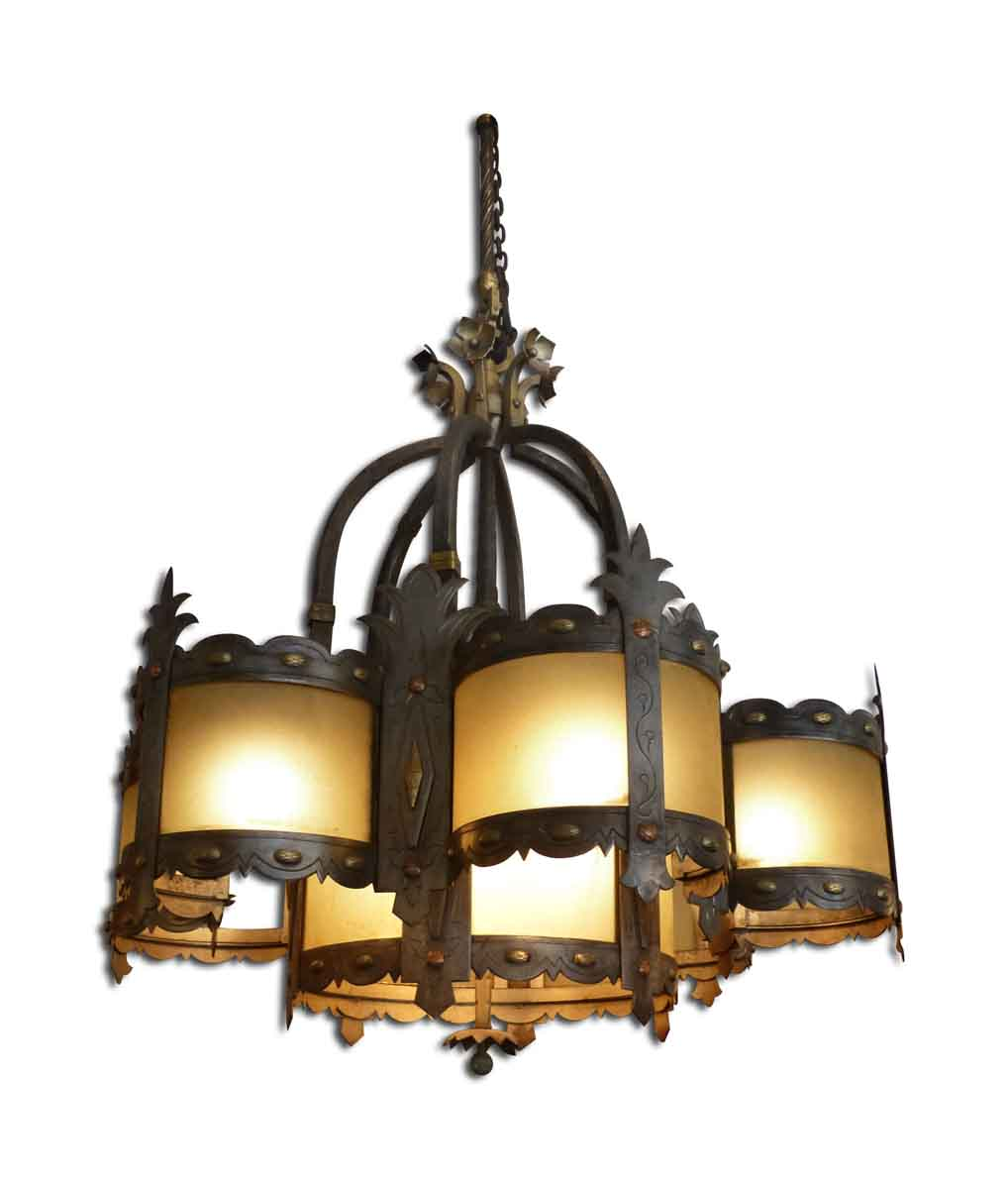 Huge wrought iron and amber glass chandelier olde good things huge wrought iron and amber glass chandelier aloadofball Images