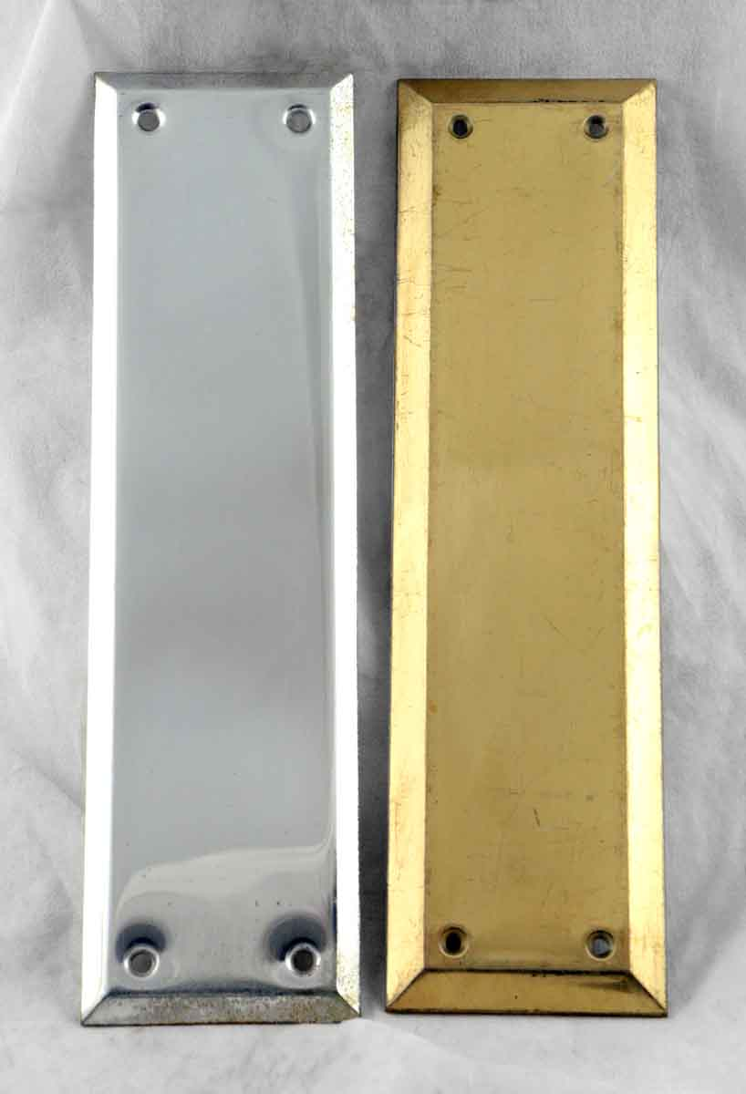 Modern brass push plate olde good things for Door push plates