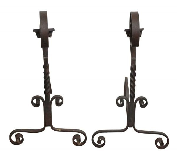 Set of Curled Black Andirons