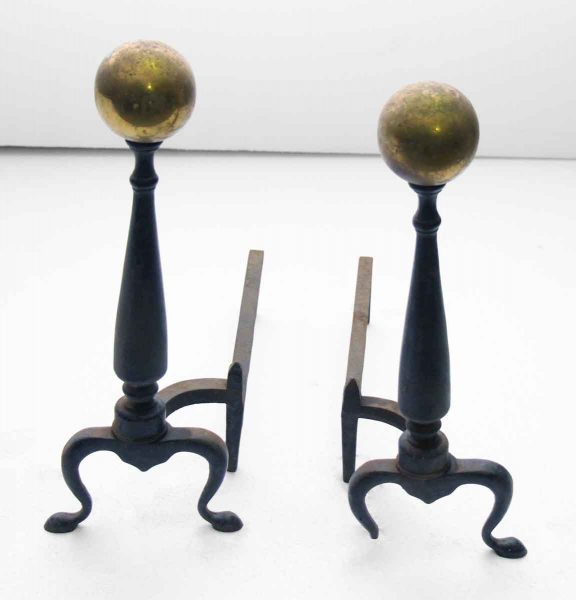 Antique Andiron with Brass Ball Tips