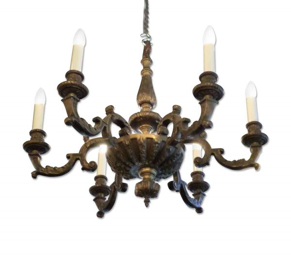 Heavy Cast Bronze Six Arm Chandelier