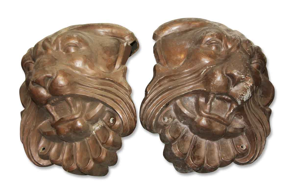 Original Pair of Lion Heads