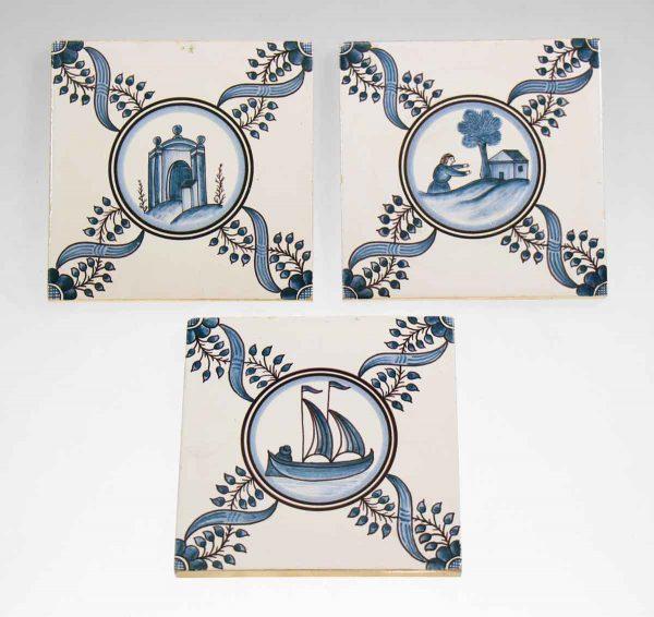 Set of Three Blue Decorative Tiles