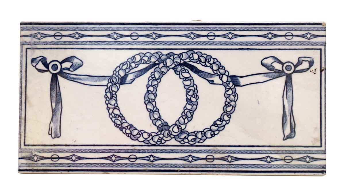 Blue & White Tile with Wreath Design