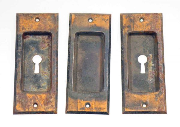 Set of Three Bronze Pocket Door Handles