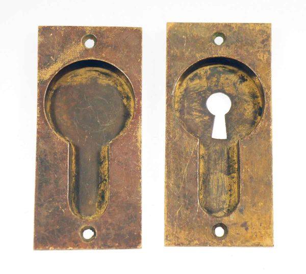 Set of Two Antique Solid Brass Pocket Door Handles