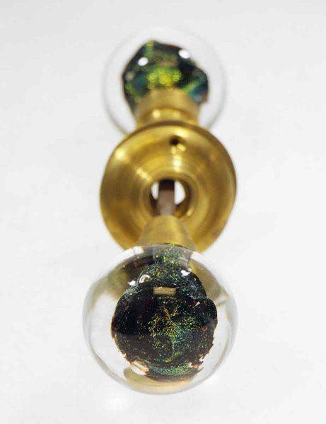 Metallic Green Glass Knob Set