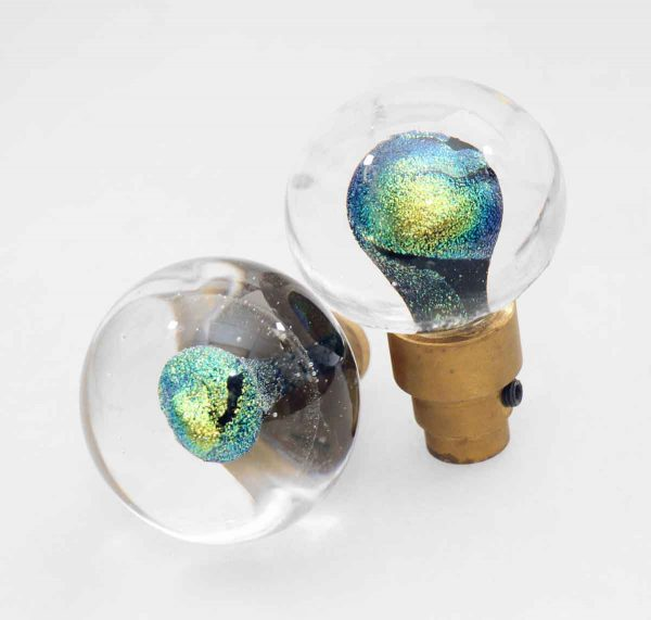 Blown Green Glass Knob Set